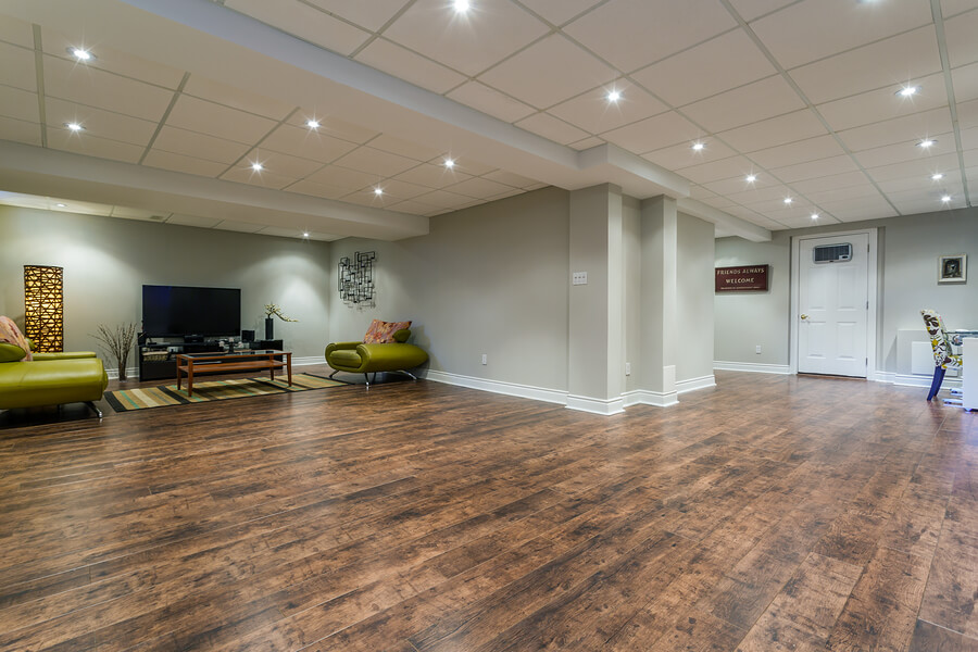 New basement Interior design with wooden floors